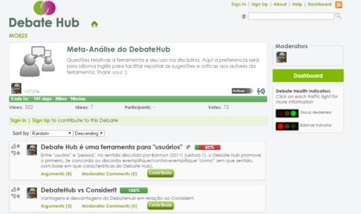 Wizualizacja strony narzędzia Debate Hub